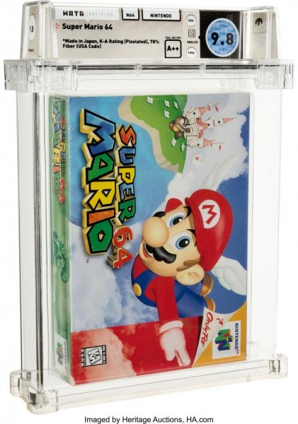 A copy of Super Mario 64 broke a world record for the highest price paid for a video game when it was auctioned for a total $1.56 million. Photo courtesy of Heritage Auctions