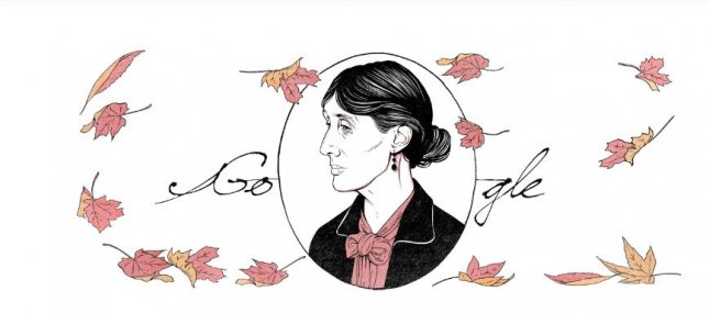 Google is paying homage to novelist Virginia Woolf with a new Doodle. Image courtesy of Google