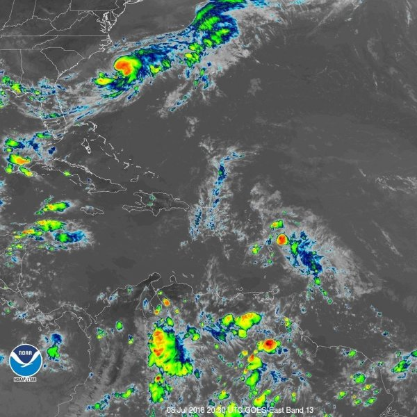 Tropical Stom Chris is forecast to strengthen as it idled off the coast of the Carolinas on Sunday, as Beryl weakened to remnants of a storm. Photo courtesy NOAA