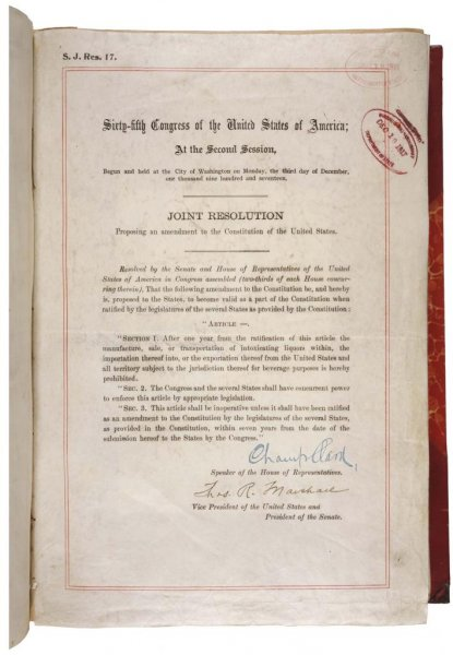 A photo of the 18th amendment courtesy of the United States Government.