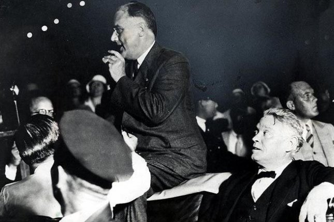 President Franklin D. Roosevelt pictured in Bayfront Park, Miami, Florida in 1933. File photo UPI