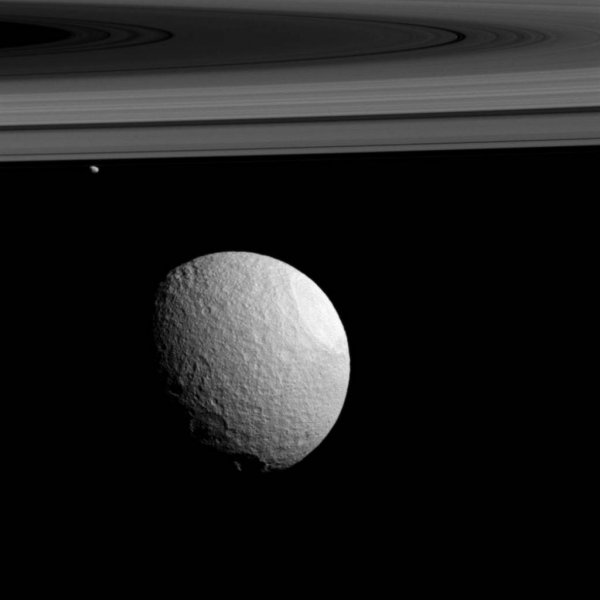 Saturn's moons Tethys and Janus appear alongside the gas giant's rings. Photo by NASA/JPL