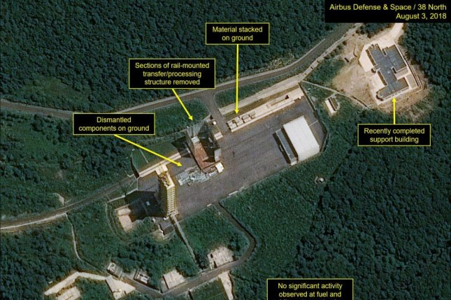 This satellite image, dated Aug. 3, 2018, and provided by 38 North shows key facilities being dismantled at the Sohae satellite launch site, North Korea's main missile engine testing site. Photo by Yonhap