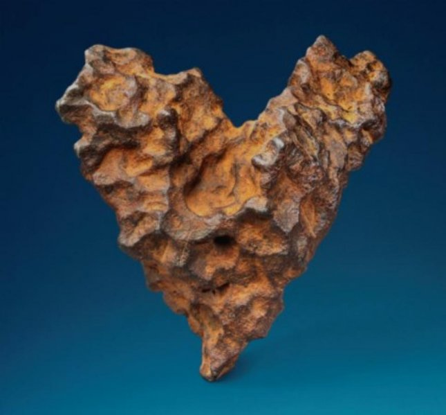 A heart-shaped meteorite that fall to earth in the 1940s is up for auction in Britain. Photo courtesy of Christie's