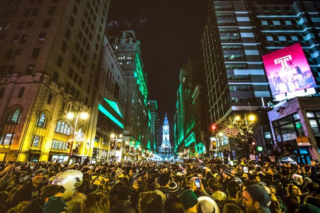 Fans flood downtown Philadelphia after the Eagles beat the New England Patriots in Super Bowl LII Sunday. Photo courtesy Office of the City Representative/Twitter