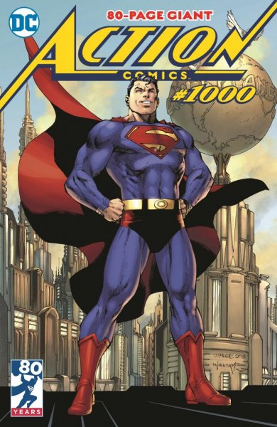 The cover to Action Comics Issue No. 1000 by Jim Lee. The special commemorative issue features the first DC work from former famed Marvel writer Brian Michael Bendis. Image courtesy of DC Entertainment.