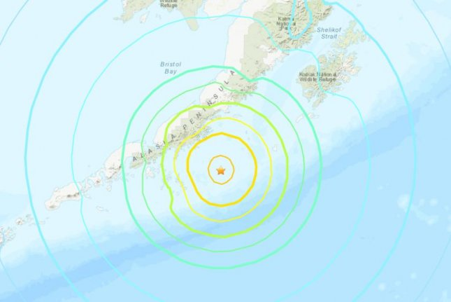 A tsunami warning was issued for coastal areas of southern Alaska, the Alaska Peninsula and Aleutian Islands, but was canceled after about an hour.Image courtesy U.S. Geological Survey