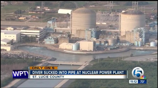 A scuba diver was sucked into an underwater intake pipe and ended up inside this nuclear power plant in Florida. Screenshot: WPTV