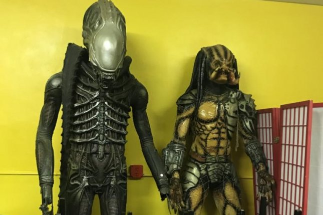 These statues are among the dozens of unusual items being auctioned off to pay off the debt of former real estate developer Thomas Kramer in Florida. Photo courtesy of moeckerauctions.com