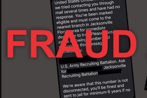 U.S. Army Recruiting Command and Selective Service say rumors of an upcoming draft are false -- and that texts informing the recipient of draft selection are fraudulent. Photo via U.S. Army Recruiting Command