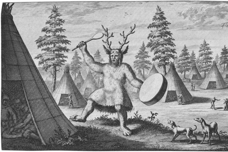 An illustration of an Evenki shaman donning an antler headdress. Photo by Little et al./PLOS ONE