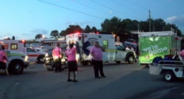 Emergency personnel treated 22 pedestrians for minor injuries outside the Martinsville Speedway in Virginia after a driver plowed into a crowded area of the parking lot on Sunday night after the Goody's Fast Relief 500. Photo by WHSV-TV
