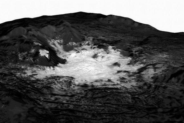 The mosaic features Ceres' brightest spot, located on a feature called Cerealia Facula. Photo by NASA