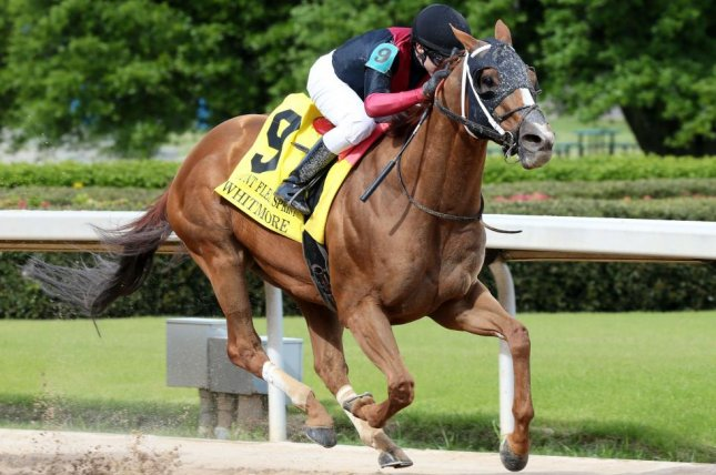 Whitmore, shown winning this year's Count Fleet Sprint Handicap at Oaklawn Park, is among the favorites for this weekend's Grade I Forego at Saratoga. Photo courtesy of Oaklawn Park