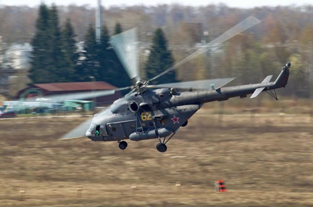 A Russian Mi-8 helicopter. Residents of Saraqeb, Syria, say a helicopter of unknown designation dropped two barrels of chlorine gas on the town. About 30 people were injured. Photo courtesy of Wikimedia