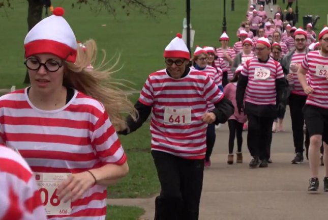 A sea of Waldos run in London to raise money for the National Literacy Trust. Screenshot: Newsflare