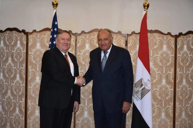 U.S. Secretary of State Mike Pompeo meets Egyptian Foreign Minister Sameh Shoukry Thursday. Photo by MFA spokesperson Egypt/Twitter