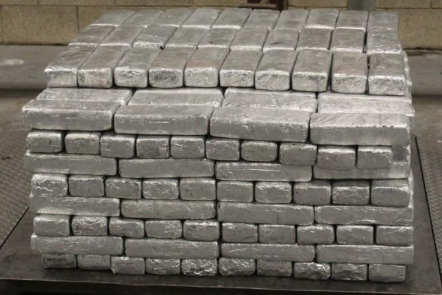 Packages containing 906 pounds of meth seized by Custom and Border Protection officers at Pharr-Reynosa International Bridge in Texas this week. Photo courtesy of U.S. Customs and Border Protection