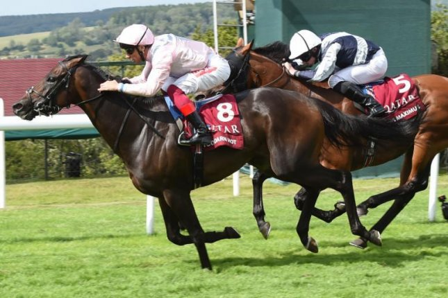 Frankie Dettori boots home Too Darn Hot in this week's Qatar Sussex Stakes, his second Group 1 win of the three-day meeting and 11th in a span of just 62 days. Photo courtesy of Goodwood Racecourse