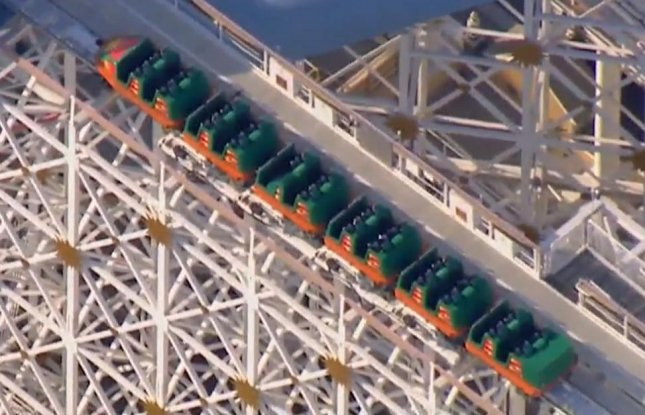 The California Screamin' Rollercoaster at Disney's California Adventure was shut down and evacuated for more than an hour on Monday after a rider was seen carrying a selfie stick. Selfie sticks were banned at the park starting in May of 2015. Screen capture/Fox 11 Los Angeles