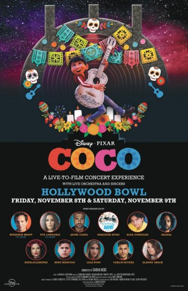 Coco Live in Concert, featuring the Disney-Pixar film's original cast, Eva Longoria and other stars, will play at the Hollywood Bowl in November. Photo courtesy of Live Nation