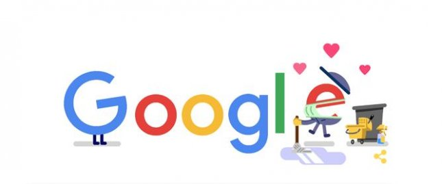 Google is paying homage to custodial and sanitation workers with a new Doodle. Image courtesy of Google