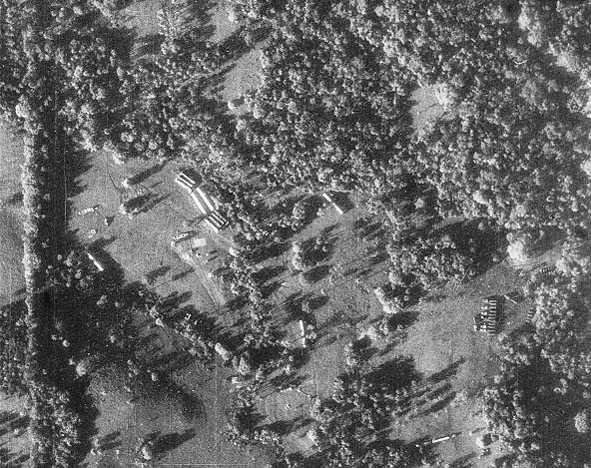 A U-2 reconnaissance photo shows concrete evidence of missile assembly in Cuba. The picture, which is believed to have been taken sometime in 1962, shows missile transporters and missile-ready tents where fueling and maintenance took place. Photo courtesy of CIA