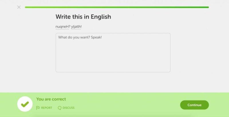 Popular language-learning website Duolingo announced the addition of Star Trek language Klingon to its courses. Image courtesy of Duolingo