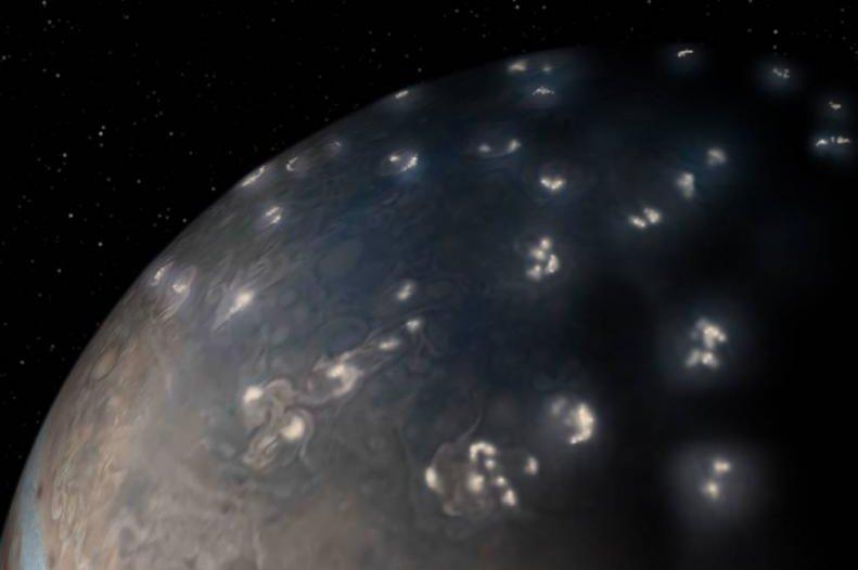 Unlike Earth, Jupiter experiences most of its lightning near the poles. Photo by NASA/JPL-Caltech/SwRI/JunoCam