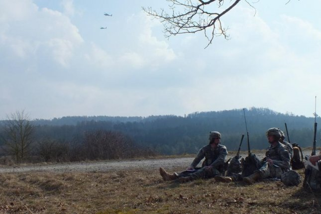 Soldiers with 1st Battalion, 503rd Infantry Regiment, 173rd Infantry Brigade Combat Team, conduct close-combat attack at the Oberdachstetten Local Training Area in Germany in this 2014 photo. Conservative leaders in Germany have sharply criticized reported plans to withdraw one-third of American troops permanently stationed in the country as part of a longstanding arrangement. Photo by Luis Viegas/U.S. Army