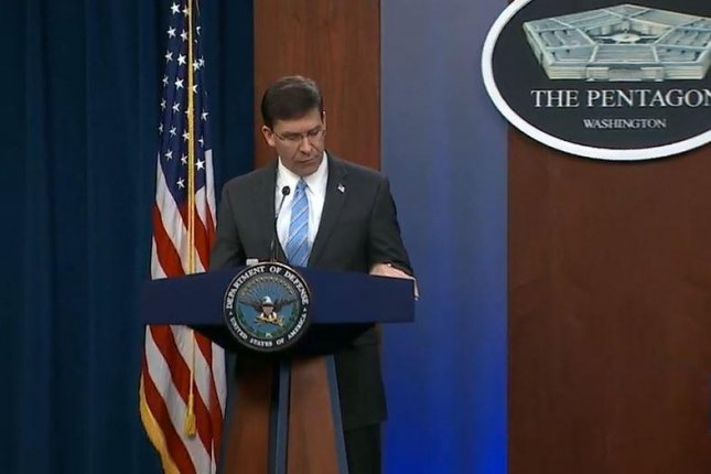 Defense Secretary Mark Esper outlines a U.S. Command Force Posture Review on Wednesday, as the withdrawal of U.S. troops from Germany was announced. Screenshot courtesy of C-Span