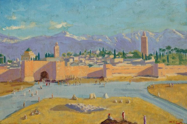 The artwork, Tower of the Koutoubia Mosque, completed in 1943 by Winston Churchill, fetched some four times its auction estimate of between $2.1 million and $3.5 million. File Image courtesy of Christie's