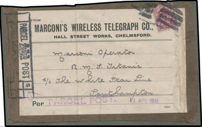 A postal label that was addressed to the Titanic is expected to fetch at least $20,000 at auction. The label had been affixed to a package of blank telegram forms. The package was expected to be delivered to the Titanic in New York, after its maiden voyage. The ship never made it to New York, instead sinking in the ocean on April 14, 1912. Image courtesy Mossgreen auctioneers