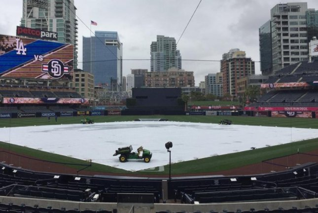 The Dodgers at Padres game was rained out on Sunday, a rarity. It was just the third rainout at Petco Field since it opened in 2004. Photo courtesy San Diego Padres via Twitter.