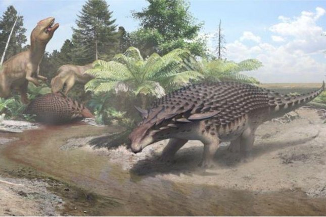 An artistic rendering showcases the tank-like appearance of the newly discovered dinosaur species Borealopelta markmitchelli. Photo by Royal Tyrrell Museum of Paleontology/Drumheller