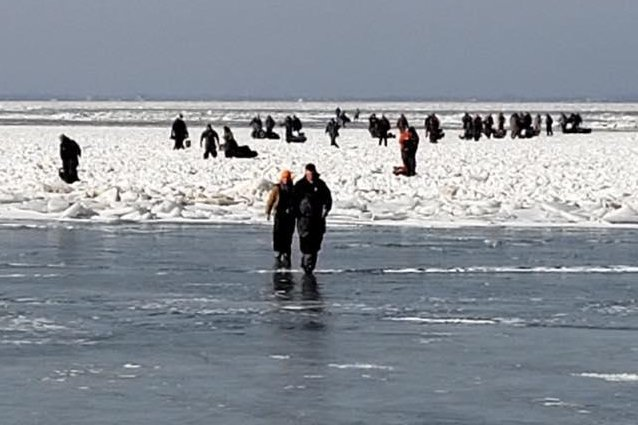 Around 150 people became stranded Saturday morning while fishing on Lake Erie. More than 100 reached shore on their own and 46 were rescued by agencies near Catawba Island State Park. Photo courtesy U.S. Coast Guard Station Marblehead, OH/Facebook