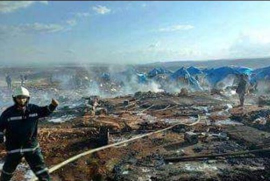 The Local Coordination Committees network said first responders extinguished fires that had erupted in the impact zone. Some officials say the strike could amount to a war crime. Photo by Local Coordination Committee/Facebook