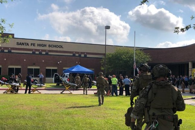 Harris County Sheriff's deputies are stationed at Santa Fe High School after a shooting Friday that officials said resulted in multiple casualties. Photo courtesy Harris County Sheriff/Twitter
