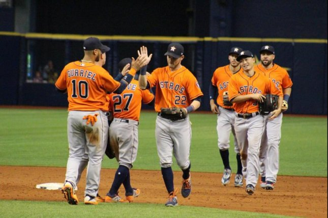 The Astros moved to 13-6 after a 10-inning victory over the Rays on Sunday. Photo courtesy Houston Astros via Twitter.
