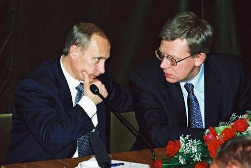 Russian president Vladimir Putin, left, and former Finance Minister Alexei Kudrin, in 2010 (CC/ Russian Presidential Press and Information Office)