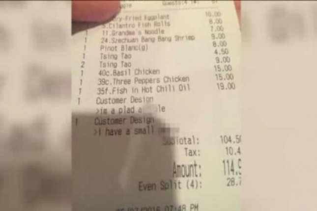 A receipt from the Peter Chang restaurant in Arlington, Va., included some lewd insults against the customers who received it. Screenshot: WTVR-TV