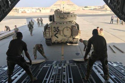 U.S. troops and armored vehicles were deployed to eastern Syria to protect oil fields from falling into the hands of the Islamic State. Photo courtesy of Operation Inherent Resolve Spokesman Col. Myles Caggins/Twitter