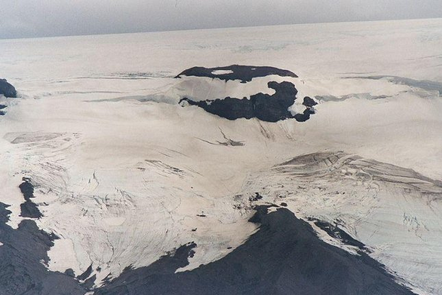 An aerial view of the Langjokull glacier in Iceland, where a group of snowmobilers became trapped Tuesday. File Photo by Johann Dréo/Wikipedia Commons 3.0
