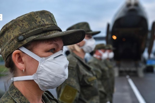 Russian military personnel prepare to leave Serbia on Monday after a 44-day humanitarian mission to help combat the coronavirus. Photo courtesy of Russian Defense Ministry