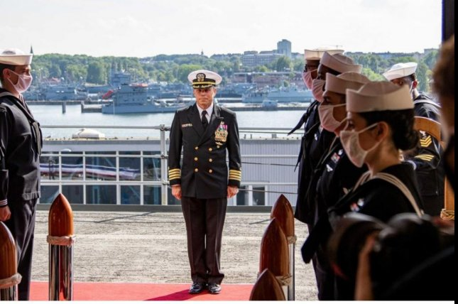U.S. Navy Capt. Sam Brasfield, C, assumed command of the standing NATO Mine Countermeasures Group One in a ceremony on June 19. Photo courtesy of NATO