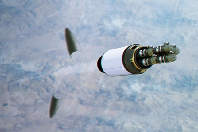Raytheon's Multi-Object Kill Vehicle (MOKV) concept is designed to destroy several objects in space by steering itself to the target and destroying it. Photo courtesy Raytheon