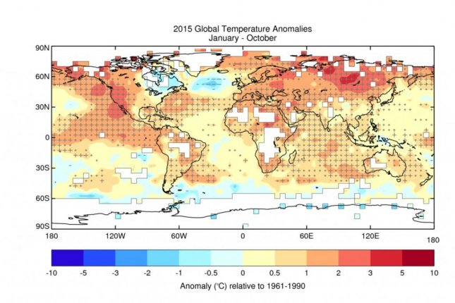 A map shows the globe's average temperature between January and October of 2015, a stretch of high temps scientists all but guarantee will place 2015 as the hottest on record. Photo by World Meteorological Organization