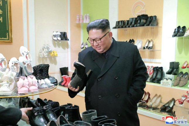 A photo released by the official North Korean Central News Agency (KCNA) on Dec. 3, 2018, shows Kim Jong-un, Supreme Leader of the Democratic People's Republic of Korea, inspecting the Wonsan Shoes Factory in Wonsan, North Korea. Photo by KCNA/EPA-EFE