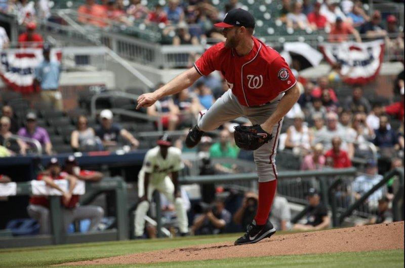 Stephen Strasburg had a season-high 11 strikeouts against the Atlanta Braves on Sunday. Photo courtesy Washington Nationals/Twitter.