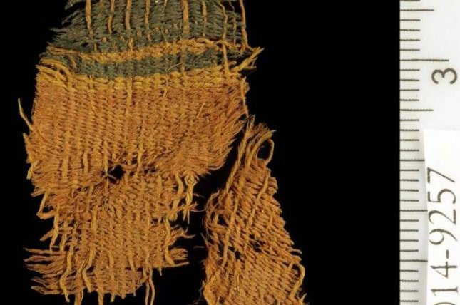 The ancient dyed textile was found in the Israel's Arava desert in the Timna Valley. Photo by Clara Amit/Israeli Antiquities Authority